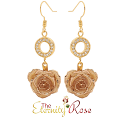 White glazed rose earrings